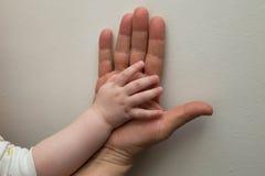 Hij overhandigt van het kind en de volwassene Royalty-vrije Stock Foto