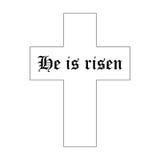 Hij is Toegenomen tekst met kruis op witte achtergrond Kalligrafie het van letters voorzien vector illustratie