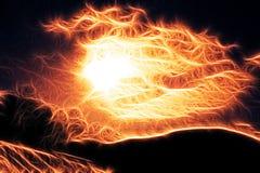 Hij zont, daling, brand in de hemel stock afbeeldingen