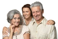 Hija adulta con los padres mayores Imagen de archivo libre de regalías