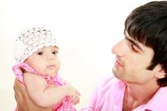 Hija cariñosa del padre y del bebé Imagen de archivo libre de regalías