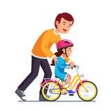 Hija de enseñanza del papá que cuida para montar la bici ilustración del vector