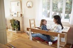 Hija que se sienta en el ` s Lap At Home And Laughing de la madre Foto de archivo libre de regalías