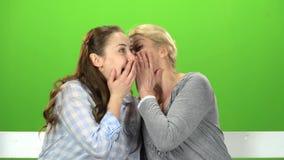 Hija y mamá que hablan en hablar en diversos temas Pantalla verde metrajes