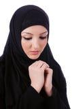 Μουσουλμανική νέα γυναίκα που φορά hijab Στοκ Εικόνες