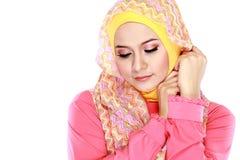 Портрет hijab красивой женщины нося стоковое фото rf