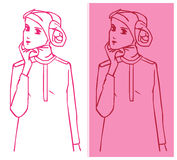 Hijab in Charm. Portraits of a muslim in hijab, illustration Royalty Free Stock Image