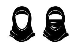 Hijab kobieta Wektorowy islam Hijab Muzułmański arab Arabska przesłona, jaszmak, paranja Logo wschodni orientał Zdjęcie Stock