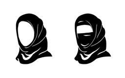 Hijab kobieta Wektorowy islam Hijab Muzułmański arab Arabska przesłona, jaszmak, paranja Logo wschodni orientał Zdjęcia Stock