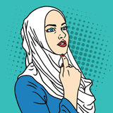Hijab Moslimvrouw Pop Art Comics Style Vector Illustration Stock Fotografie