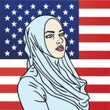 Hijab muslimsk amerikansk kvinna Amerikanska flagganbakgrund Pop Art Comics Style Vector Illustration stock illustrationer