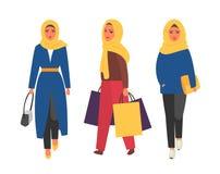 Hijab muzułmańska kobieta Arabska nowożytna moda Wektorowi ludzie ilustracja wektor