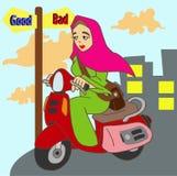 Hijab Scooter Rider夫人 图库摄影