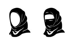 Hijab woman. Vector Islam Hijab. Muslim Arab. Arabian veil, yashmak, paranja. Logo of the eastern Oriental. Woman face. Isolated on white background Stock Photos