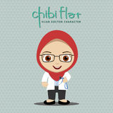 Hijab Women Doctor. Flat Character stock illustration