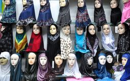 Hijabs For Sale On Display Stock Image