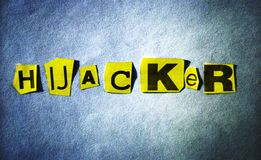 Hijacker. Computer generated. Hijacker headline on blue background with yellow cutout letters royalty free illustration