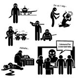 Hijacker Terrorist Airplane Clipart. A set of human pictogram representing terrorist hijacking an airplane (with hostages) and demanding for ransom Royalty Free Stock Photos