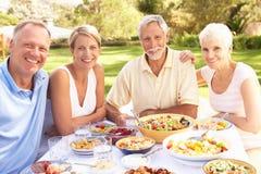 Hijo adulto e hija que disfrutan de la comida en jardín imagenes de archivo