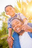 Hijo de la raza mixta y padre Play Piggyback Outdoorsdoors del afroamericano fotografía de archivo