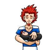 Hijo pelirrojo de punta de Holding His Newborn del padre stock de ilustración