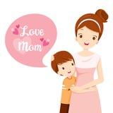 Hijo que abraza a su madre stock de ilustración