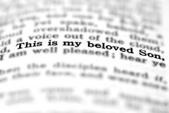 Hijo querido de la cita de la escritura del nuevo testamento Foto de archivo