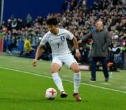 Hijo surcoreano del Heung-minuto del extremo durante amistoso internacional Foto de archivo libre de regalías