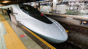 Shinkansen at Hiroshima station Stock Photo