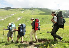 Hike. Group  in  hike in the Caucasus Royalty Free Stock Photography
