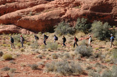 Hike. A group hiking in Red Rock Canyon, Nevada Stock Images