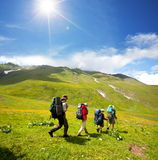 Hike. Rs in the Caucasus mountains Royalty Free Stock Photos