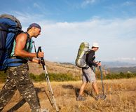 Hike. People in hike in Crimea mountains Stock Photos