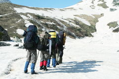In hike. Group go up in hike Stock Image