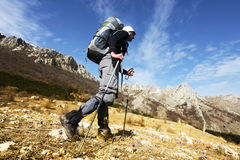 In hike. People in hike in Crimean mountains Stock Photo