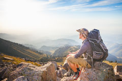Hike and adventure at mountain Royalty Free Stock Photo