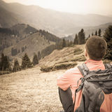 Hike and adventure at mountain Stock Images