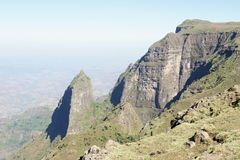 Hike along mountain ridge in Simien mountains Royalty Free Stock Images