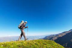 Hike in Bolivian mountains Royalty Free Stock Photos