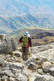 Hike in Bolivian mountains Stock Photos
