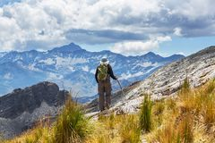 Hike in Bolivian mountains. Hiking man in Bolivian   mountains Stock Photography