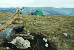 Hike camping Stock Images