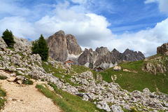 Hike on Catinaccio mountain, Italy Royalty Free Stock Photography
