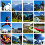 Hike collage. Hiking collage -hiker in mountains landscapes set Stock Photos