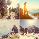 Hike collage Stock Image