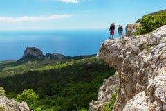 Hike in Crimea. Couple in hike stock image