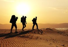 Hike in desert Stock Photography