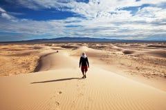 Hike in desert. Hike in Gobi desert royalty free stock photography