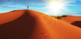 Hike in the desert Stock Photos