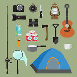 Hike elements vector icon collection. Mountain hike elements. Autumn forest camping set. Hiking equipment and gear vector icon collection. Mountains, tent Stock Photos